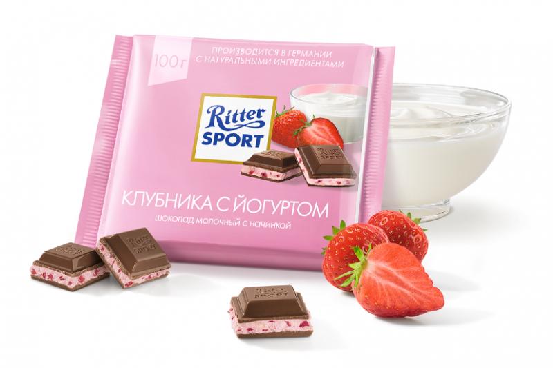 Шоколад  Риттер Спорт  молочный с клубникой в нежном йогурте 100гр
