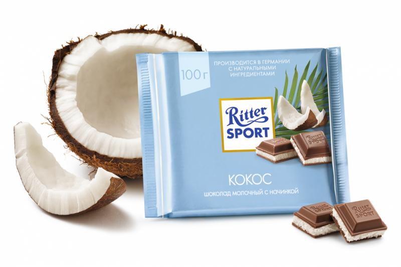 Шоколад  Риттер Спорт  с кокосовой начинкой 100гр