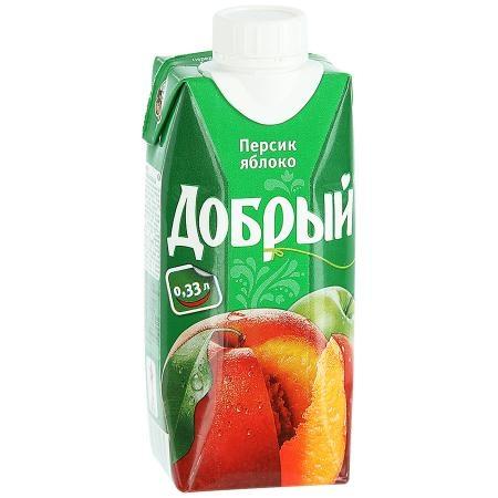 Сок  Добрый  персик/яблоко 0.33л.