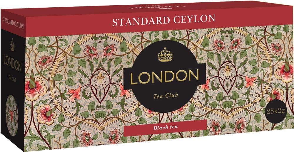 ЧАЙ ЧЕРНЫЙ STANDARD CEYLON ТМ LONDON TEA CLUB 25*2ГР.С ЯР.+ЛОЖКА