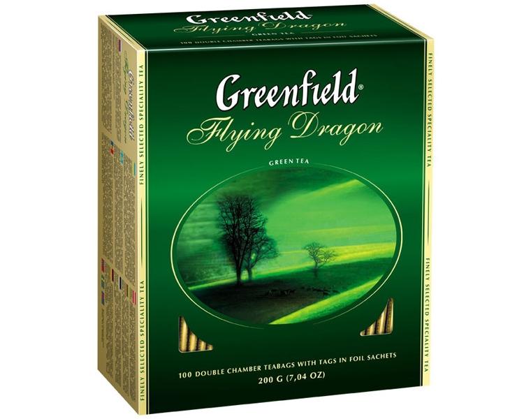 Чай  Гринфилд  зеленый китайский Флаин Драгон 100шт*2гр.