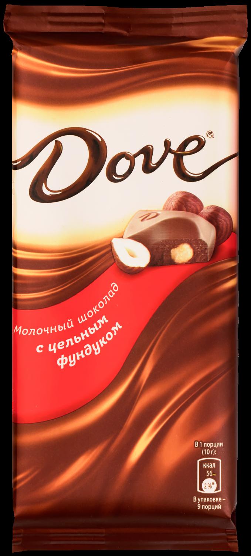 Молочный шоколад  Dove  с цельным фундуком 90гр