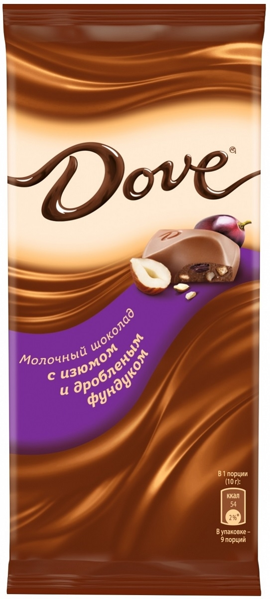 Молочный шоколад  Dove  изюм и фундук 90гр