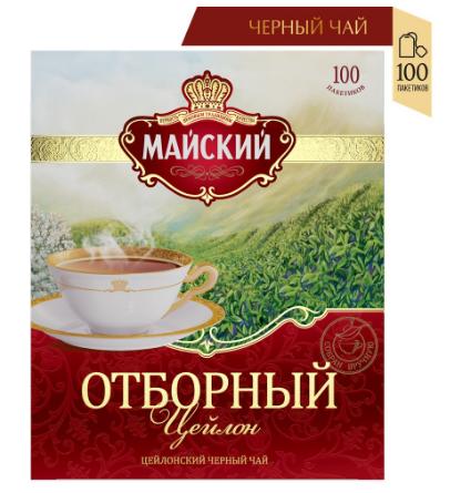 """Чай МАЙСКИЙ Отборный"""" черный 100 пакетиков"""""""
