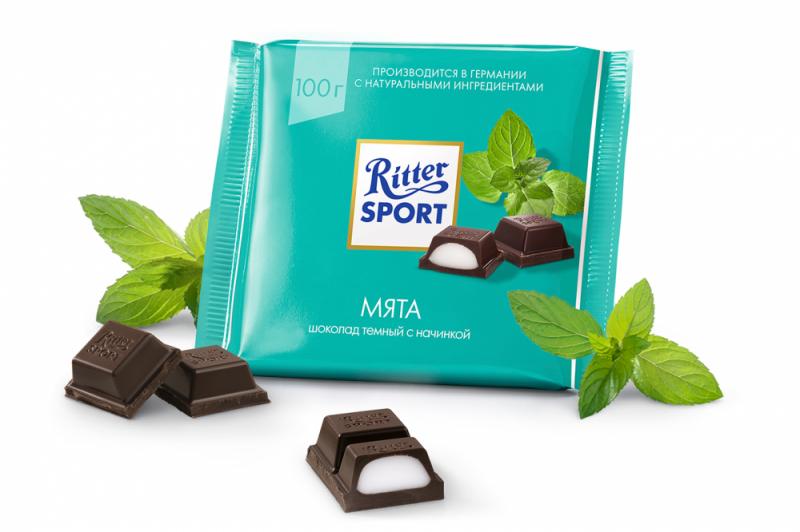 Шоколад  Риттер Спорт  темный с мятной начинкой 100гр.