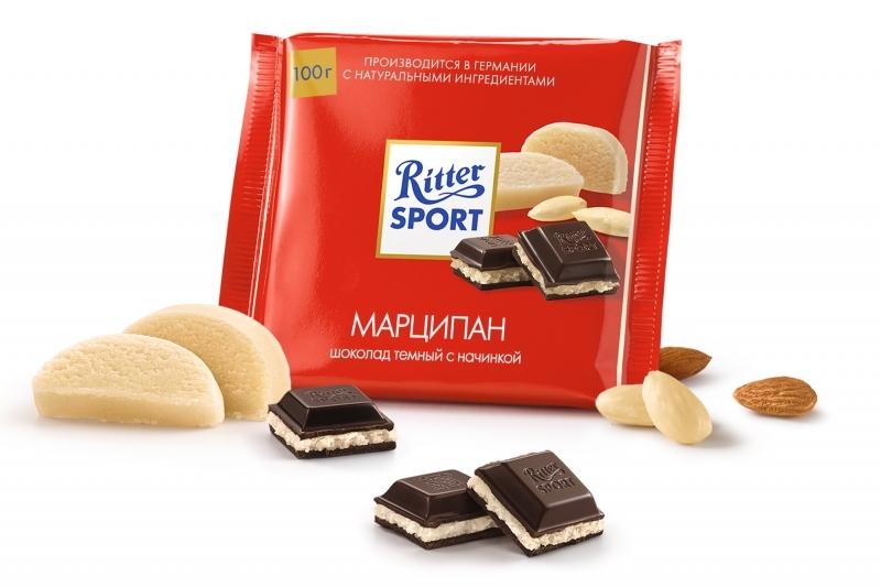 Шоколад  Риттер Спорт  темный с марципановой начинкой 100гр.