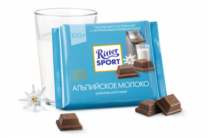 Шоколад  Риттер Спорт  с альпийское молоко 100гр.