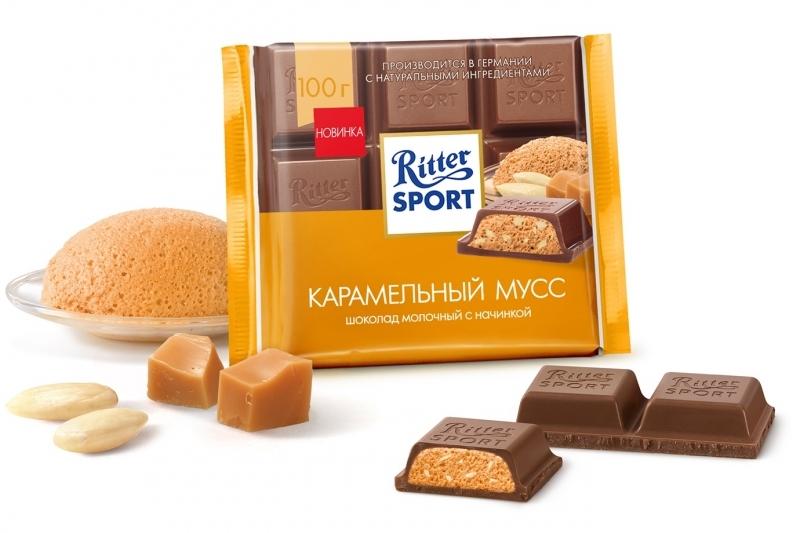 Шоколад  Риттер Спорт  с карамельной начинкой и соленым миндалем 100гр.
