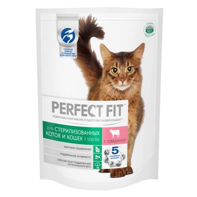 Сухой корм  Перфект Фит  для стерилизованной кошки с говядиной 650гр.