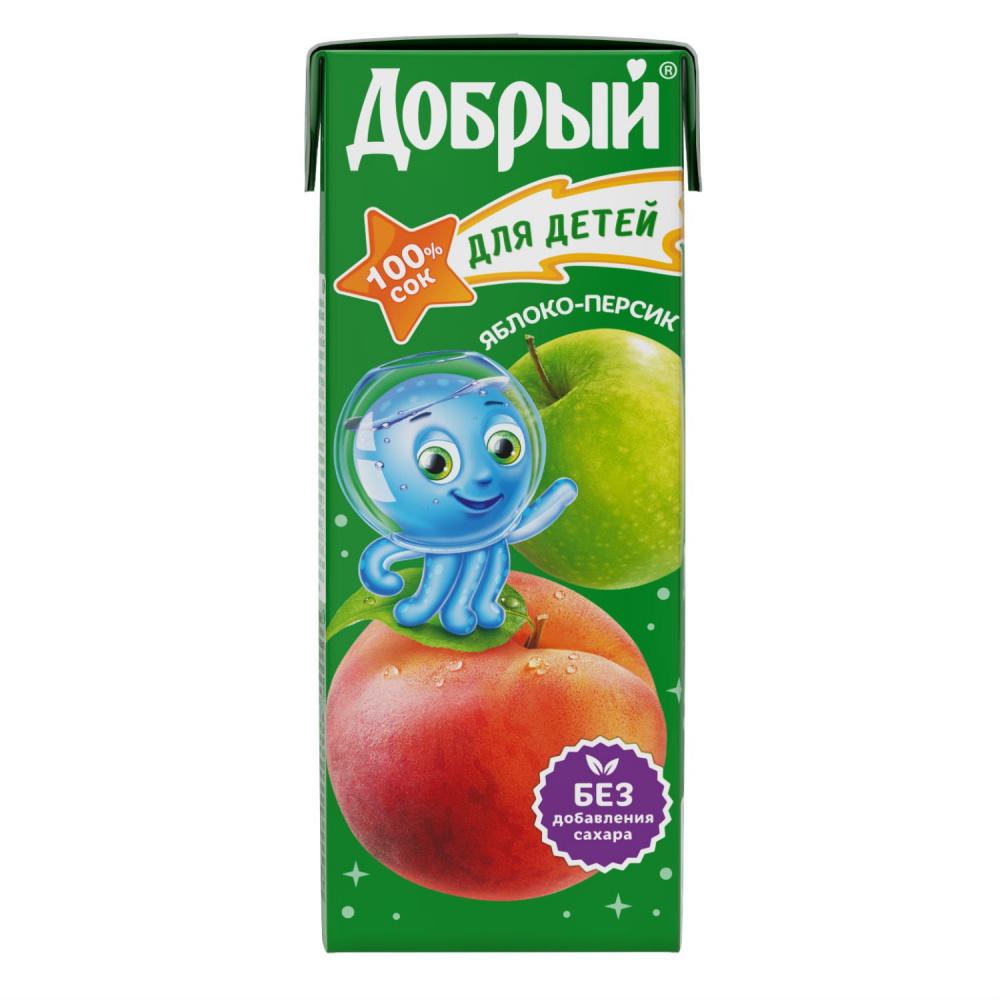 Сок  Добрый  персик-яблоко 0.2л