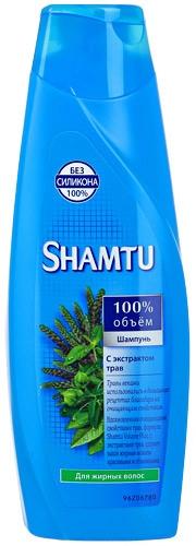 Шампунь для жирных волос  Shamtu  100% объем с экстрактом трав 380мл.