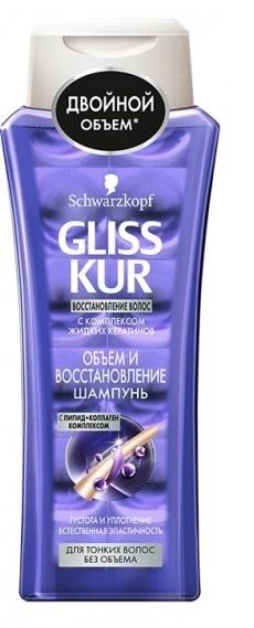 Шампунь  Gliss Kur  объем и восстановление для тонких волос 400мл.