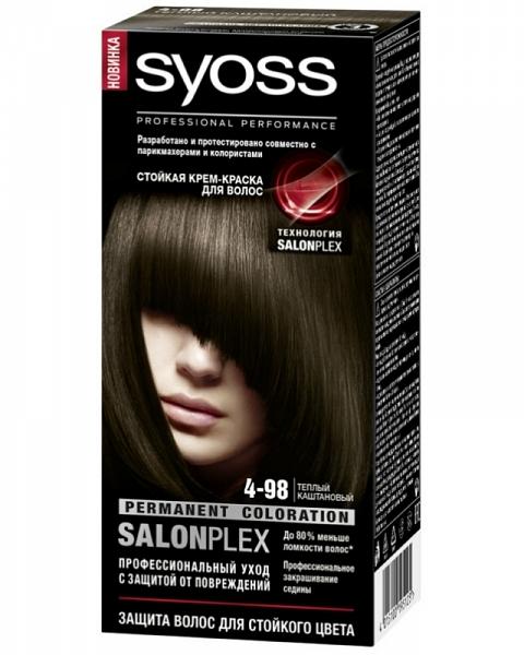 Краска для волос  Syoss Color  теплый каштановый 115мл.