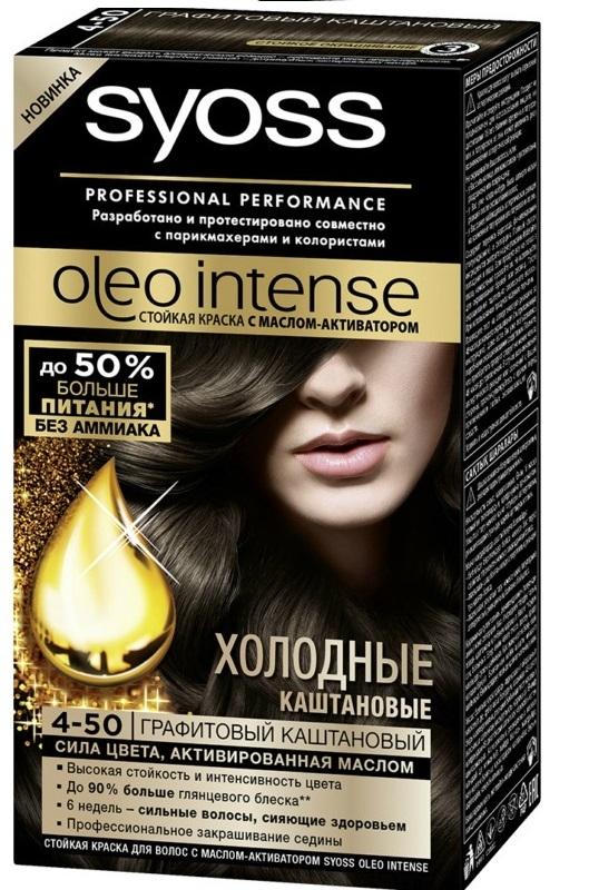 Краска для волос  Syoss Oleo Intense  графитовый каштановый 50мл.
