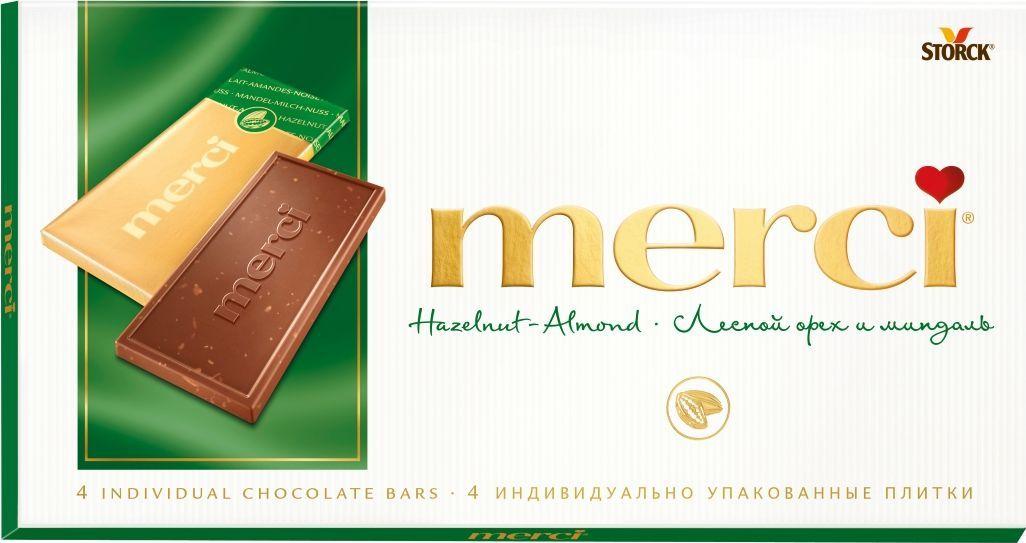 Шоколад  Мерси  лесной орех и миндаль 100гр.