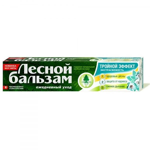 Зубная паста  Лесной бальзам  тройной эффект мята/смородина 150гр.