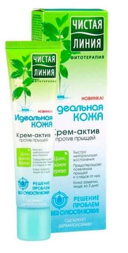 Крем-актив  Чистая линия  аква-крем против прыщей  Идеальная кожа  40мл.