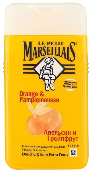 Гель-пена для душа  Le Petit Marseillais  Апельсин и Грейпфрут 250мл.