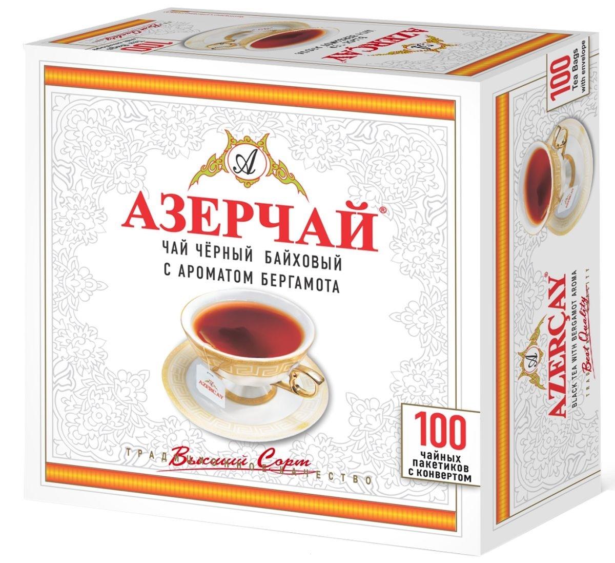 Чай черный  Азерчай  пакетированный 100*2гр с бергамотом