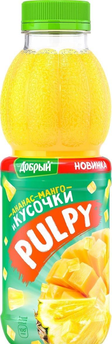 Напиток сокосодержащий  Добрый  Pulpy Ананас-Манго с кусочками ананаса 0.45л.