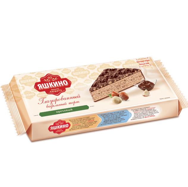 Вафельный торт глазированный  Яшкино  ореховый 250гр.