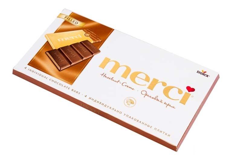 Шоколад  Мерси  ореховый крем 112гр.