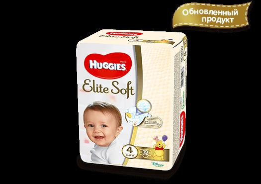 Подгузники  Хаггис  (Huggies) Elite Soft 4 (8-14кг) 19шт.