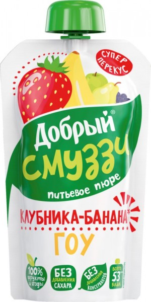 Смузи  Добрый  клубника/банан ГОУ 110гр.