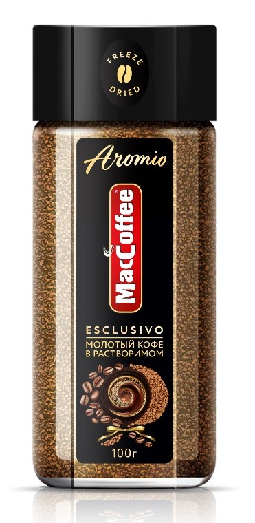 Кофе натуральный растворимый с добавлением молотого  Aromio  100гр.