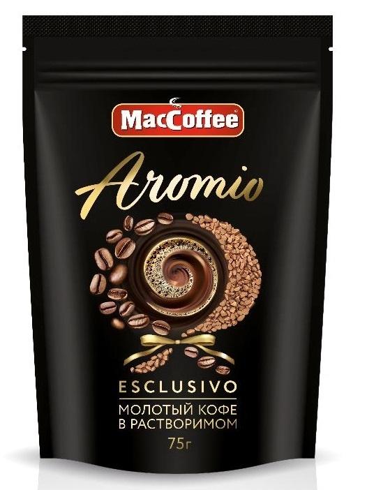 Кофе натуральный растворимый с добавлением молотого  Aromio  75гр.