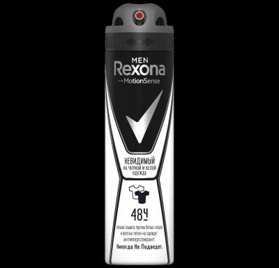 Антиперспирант-аэрозоль  Рексона  мужской Невидимый на черном и белом 150мл.