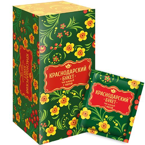 Чай зеленый с мятой  Краснодарский букет  25шт*2гр.