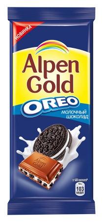 Молочный шоколад  Альпен гольд  с Орео 95гр.
