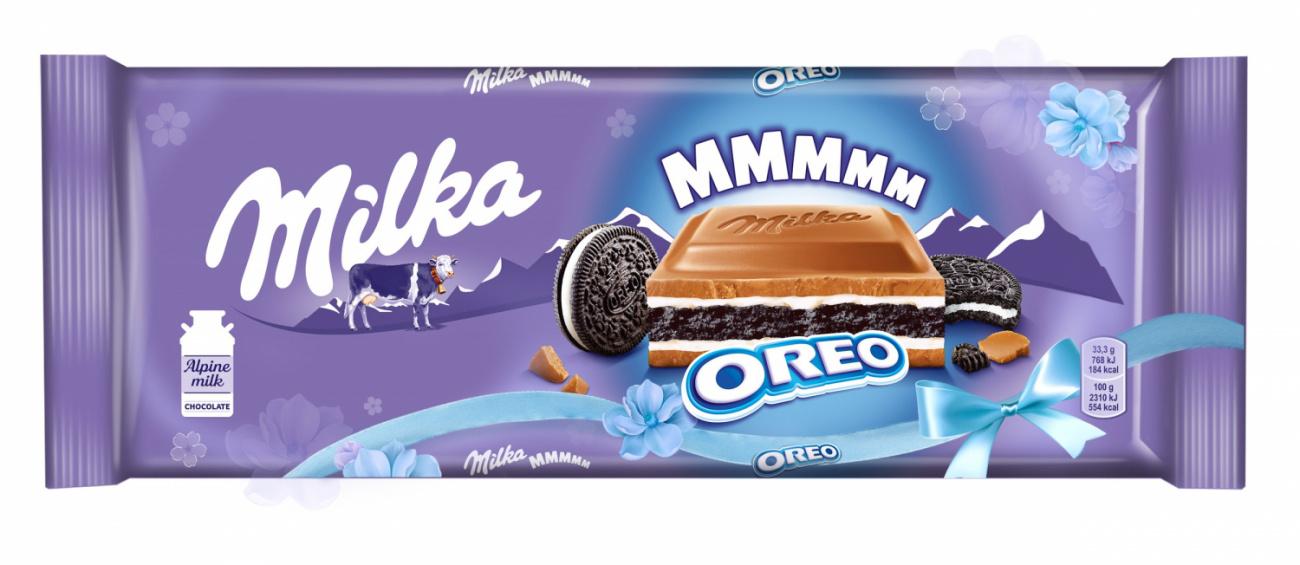 Шоколад  Милка  молочный с ванилью и печеньем Орео 300гр.