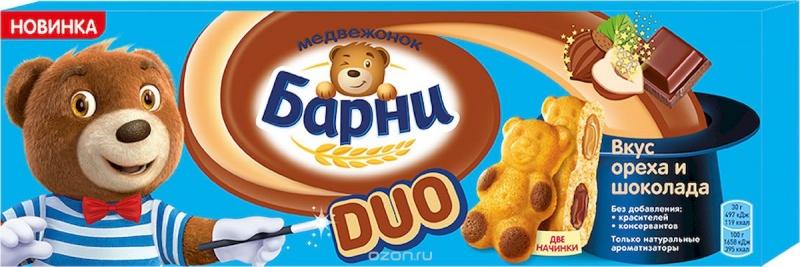 Пирожное бисквитное  Медвежонок Барни  с шоколадной начинкой и вкус ореха 150гр.