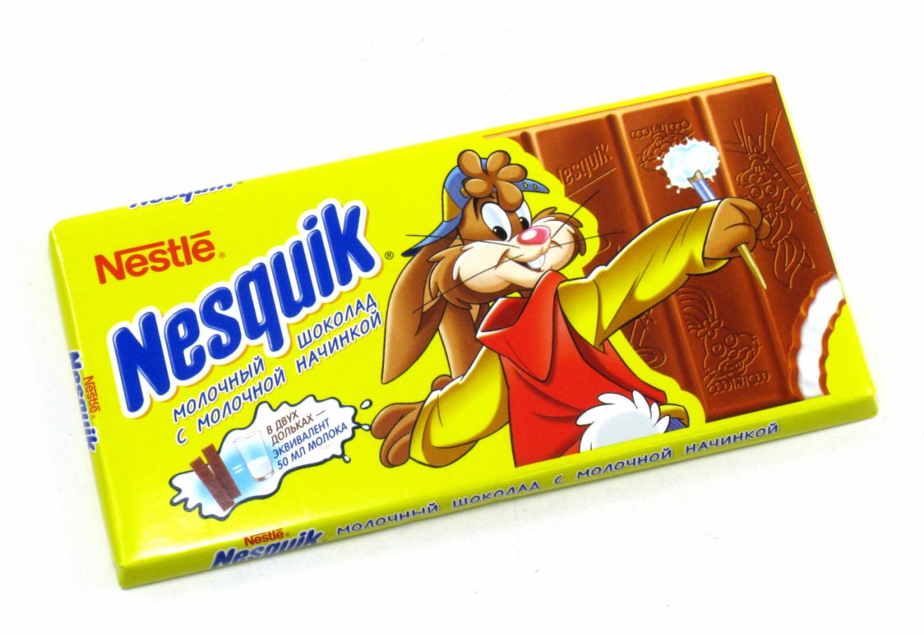 Молочный шоколад с молочной начинкой  Nesquik  100гр.