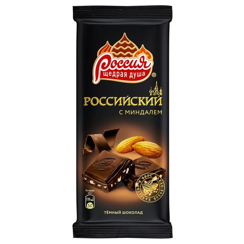 Шоколад  Российский  темный с миндалем 90гр.