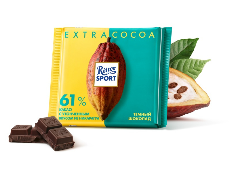 Шоколад  Риттер Спорт  темный Extra cocoa 61% 100гр.