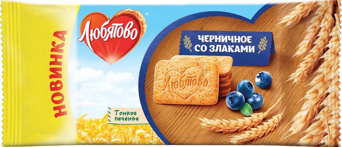 Печенье сахарное  Любятово  черничное со злаками 114гр.