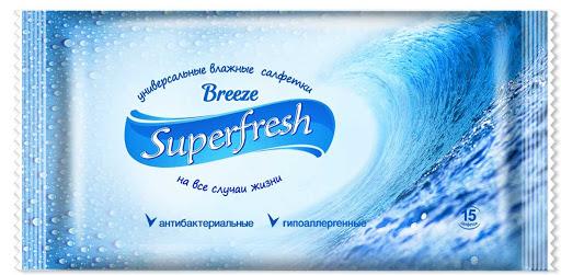 SUPERFRESH ВЛАЖНЫЕ САЛФЕТКИ BREEZE 15 ШТ (120ШТ/ЯЩ)