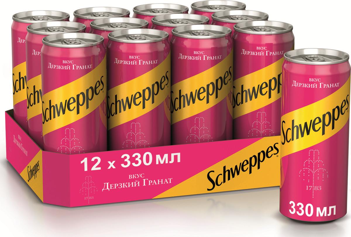 Напиток газированный  Швепс  гранат 0.33л ж/б