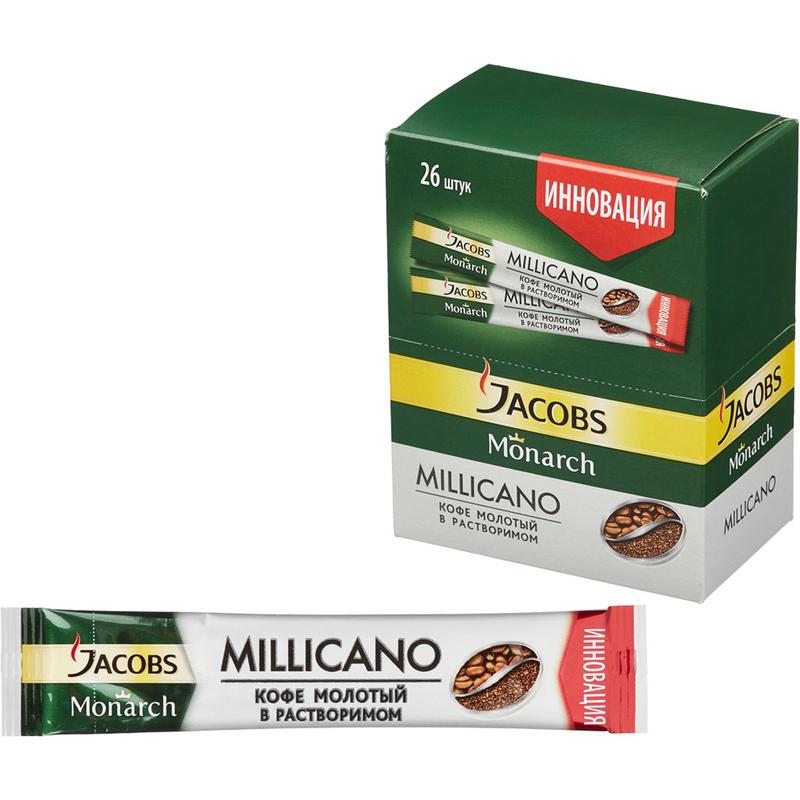 Кофе  Якобс  Монарх Millicano с добавлением молотого стик 1.8гр.
