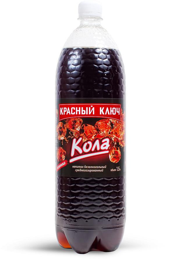 Напиток газированный  Кола  Красный ключ 1.5л.