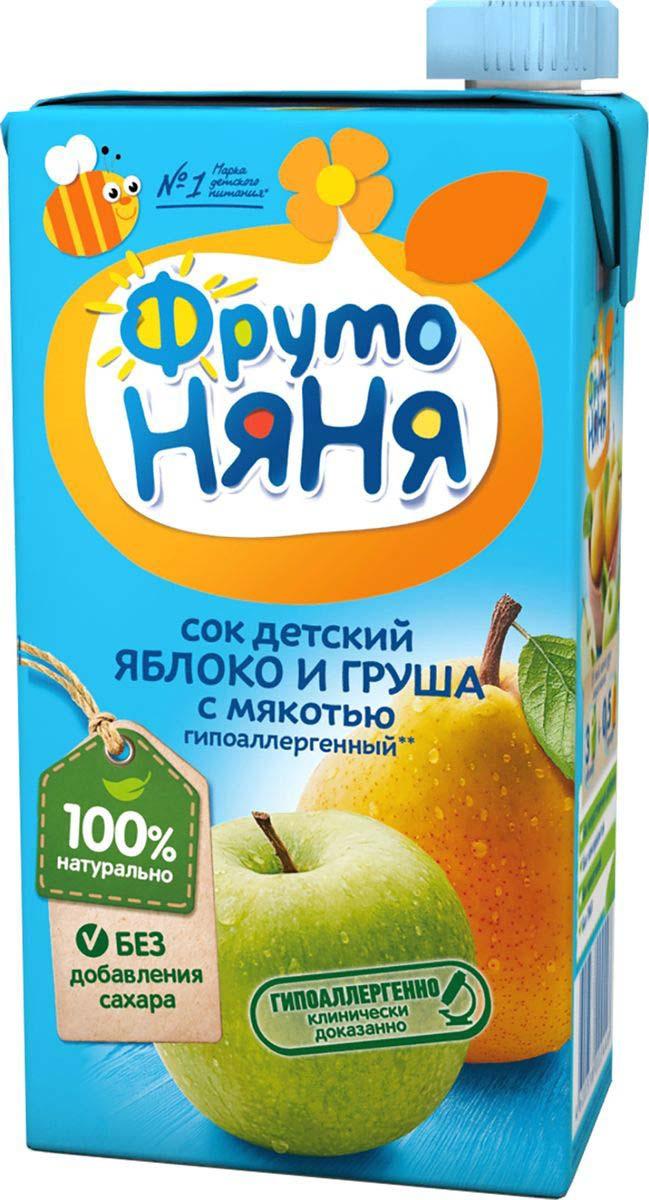Сок  Фруто-няня  яблочно-грушевый с мякотью 0.5л.