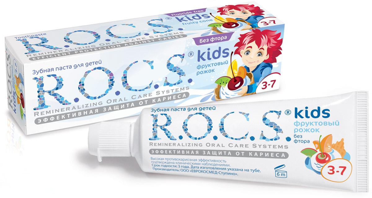 Зубная паста R.O.C.S фруктовый рожок (без фтора) для детей 45гр.
