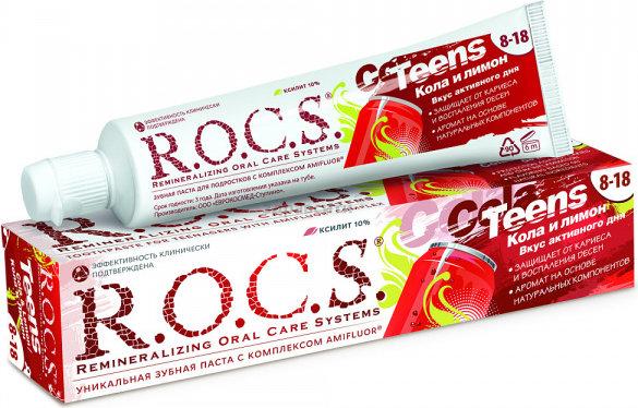 Зубная паста  R.O.C.S.  Teens Вкус активного дня со вкусом колы и лимона 74гр.