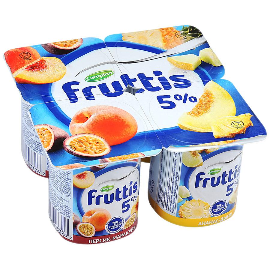 Йогурт  Фруттис  сливочное лакомство 5% персик-маракуйа/ананас-дыня 115гр.