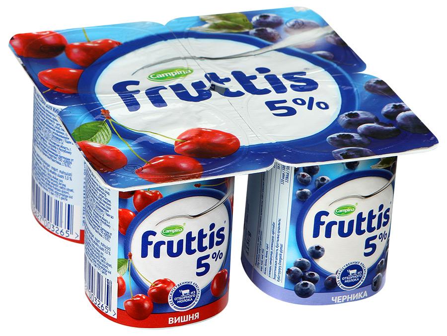 Йогурт  Фруттис  сливочной лакомство 5% вишня/черника 115гр.