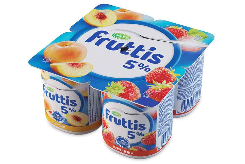 Йогурт  Фруттис  Сливочное лакомство 5% Клубника/Персик 115гр.