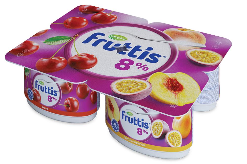 Йогурт  Фруттис  супер-экстра 8% вишня/персик-маракуйа 115гр.